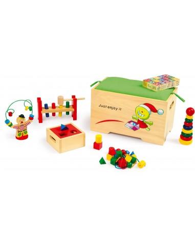 Coffre à jouets avec 6 jeux éducatifs